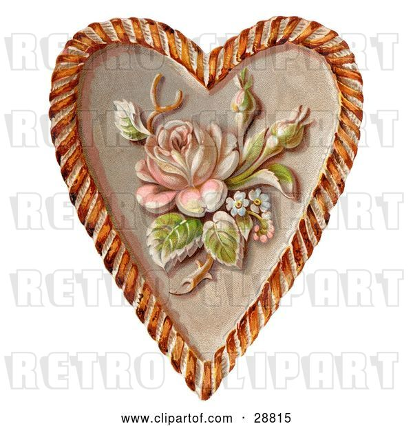 Clip Art of Retro Valentine of a Rose and Blossoms on a Heart, Circa 1890