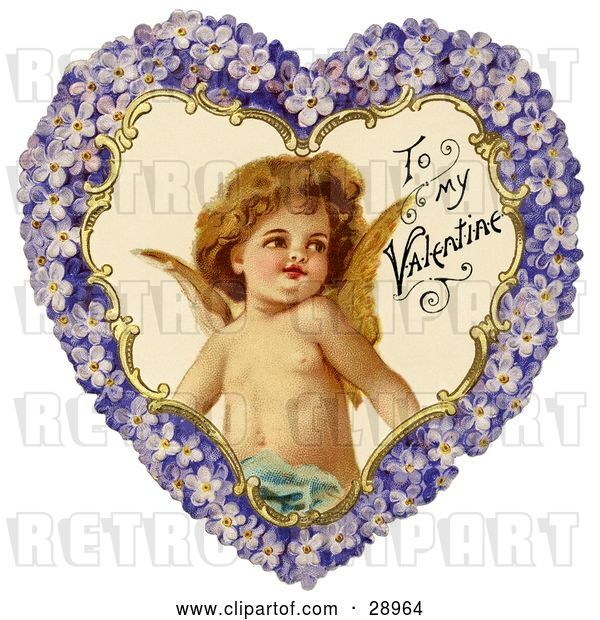 Clip Art of Retro Valentine of Cupid Smiling Inside a Purple Floral Forget Me Not Heart, Circa 1890
