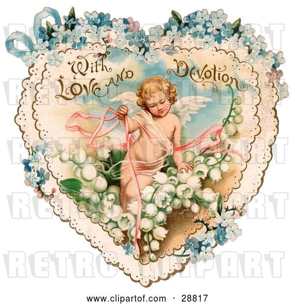 Clip Art of Retro Valentine of Cupid with Ribbons, Prancing in White Lily of the Valley Flowers on a Lacy Heart with Forget Me Not Flowers, Circa 1890