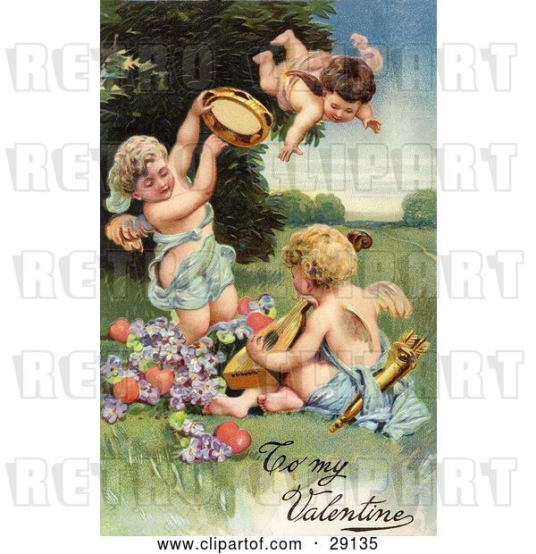 Clip Art of Retro Valentine of Three Cherubs, One Flying, Playing Tambourines and Mandolins with Hearts and Purple Flowers, Circa 1906