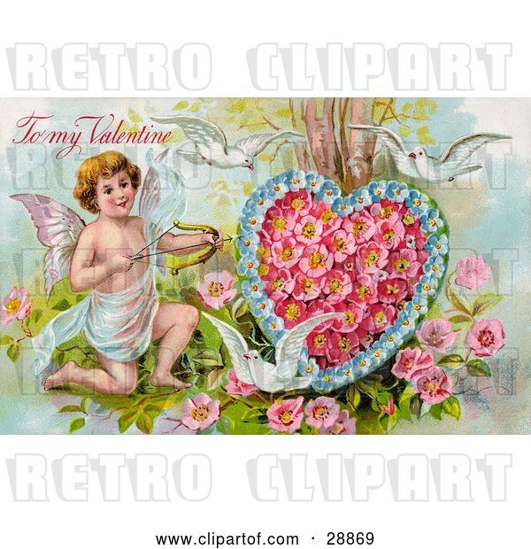 Clip Art of Retro Valentine of Three White Doves Flying Around Cupid Aiming an Arrow at a Heart Made of Pink Poppies and Blue Forget Me Nots, Circa 1910