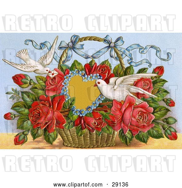 Clip Art of Retro Valentine of Two Doves Delivering a Basket of Red Roses with a Blank Forget Me Not Heart and a Little Message, Circa 1909