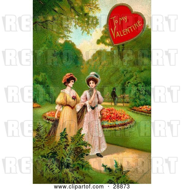 Clip Art of Retro Valentine of Two Ladies Strolling Through a Garden and Talking About a Guy in the Background