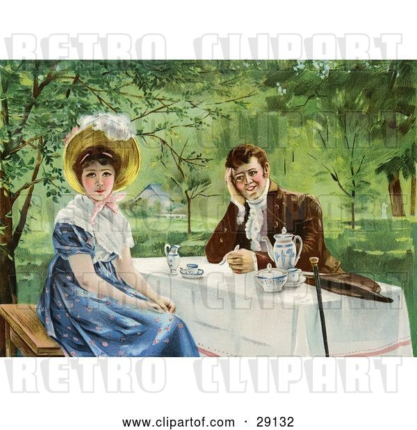 Clip Art of Retro Victorian Couple Drinking Tea Outdoors on a Nice Day, the Lady Looking Away from the Guy, Circa 1830