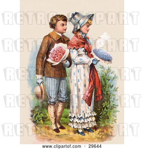 Clip Art of Retro Victorian Scene of a Boy Carrying Flowers and Walking Behind a Girl As She Reads a Love Letter, Circa 1886