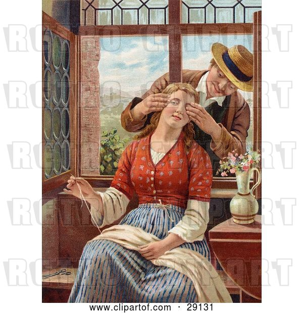 Clip Art of Retro Victorian Scene of a Guy Reaching in Through an Open Window, Covering a Lady's Eyes As She Sews, Circa 1850