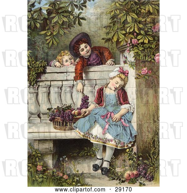 Clip Art of Retro Victorian Scene of Little Boys Flirting and Teasing a Little Girl Asleep on a Garden Bench with a Basket of Fruit, Circa 1850