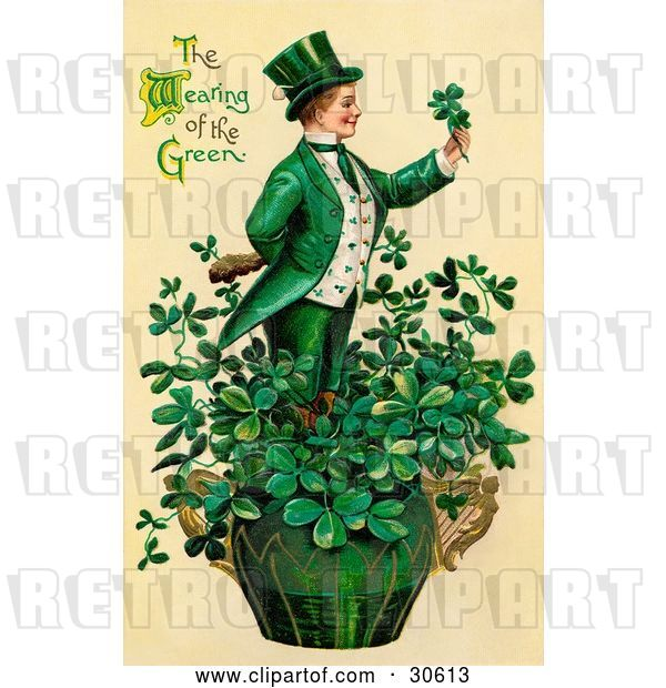 Clip Art of Retro Victorian St Patrick's Day Scene of a Leprechaun or Isirh Guy Standing in a Pot of Shamrocks, Holding a Clover, Circa 1910