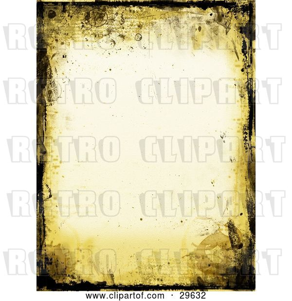 Clip Art of Retro Yellow and Black Grunge Border over an off White Stationery Background
