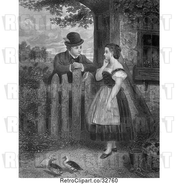 Clip Art of Retro Young Couple Talking at a Fence with Ducks in the Yard, in