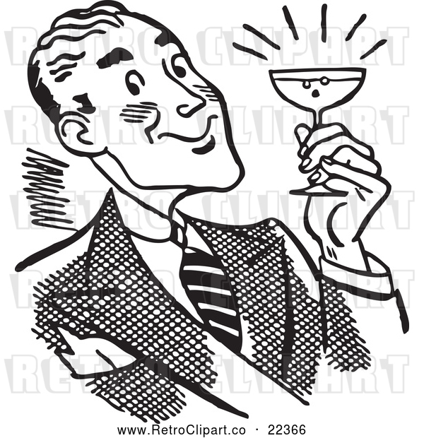 Clipart of a Happy Retro Man Holding a Cocktail