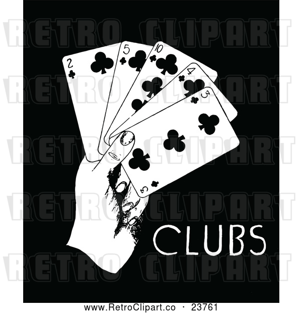 Clipart of a Retro Hand with 2, 3, 4, 5, 10 of Clubs Playing Cards