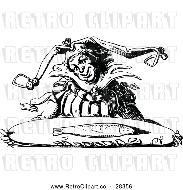 Clipart of a Retro Jester Carrying a Fish on a Tray
