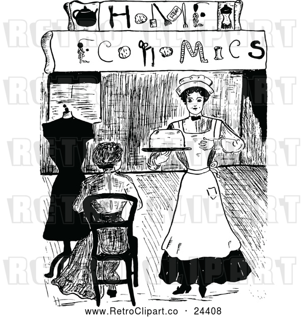 Clipart of a Retro Maid Serving a Woman at Home Economics