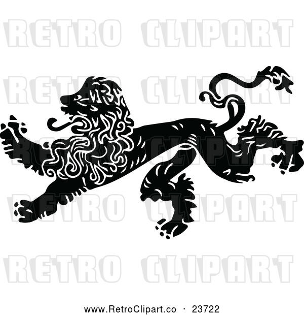 Clipart of a Retro Male Lion Running