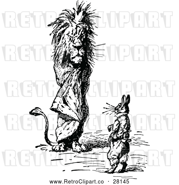 : Clipart of a Retro Male Lion Standing Beside a Rabbit