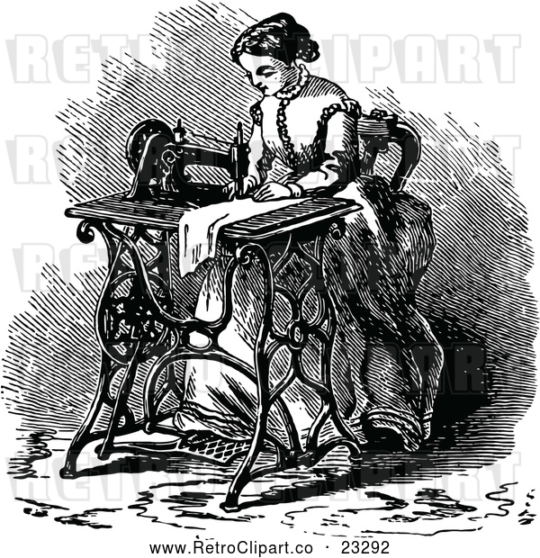 Clipart of a Retro Woman Using a Sewing Machine