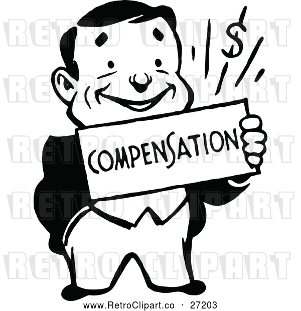 Clipart of a Smiling Retro Business Man Holding a Compensation Sign