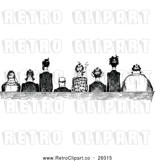 : Clipart of Retro Men Seated Side by Side