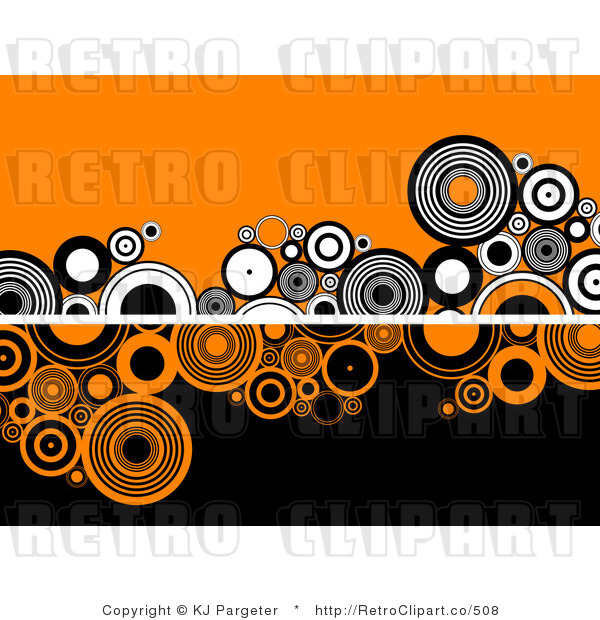 Halloween Circles Background Retro Royalty Free Vector Clipart by KJ ...