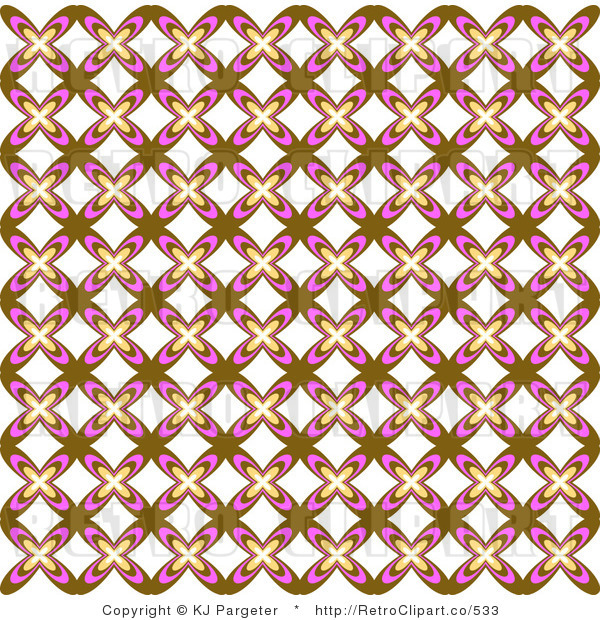 Retro Background of a Brown White and Pink Floral Pattern Royalty Free Clipart