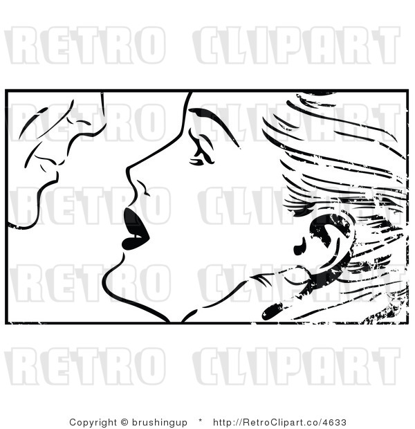 Retro Black and White Grungy Pop Art Couple About to Kiss Royalty Free Vector Clipart