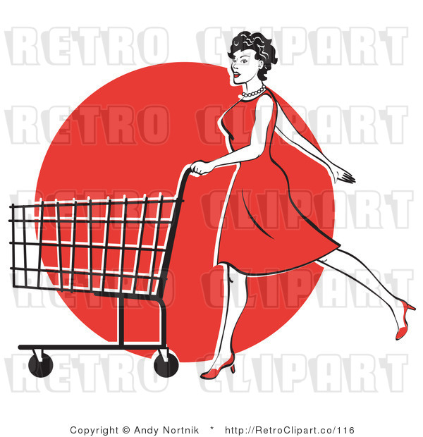 Retro Vector Clip Art of a Lady Shopping in a Red Dress