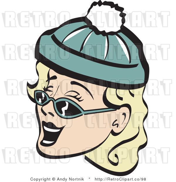 Retro Vector Clip Art of a Winter Woman in Shades and a Cap