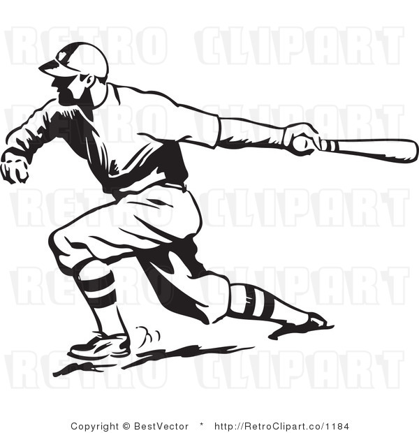 Royalty Free Black and White Retro Vector Clip Art of a Baseball Player