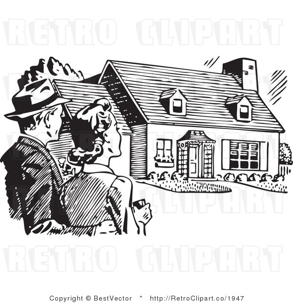 Royalty Free Black and White Retro Vector Clip Art of a Couple House Hunting