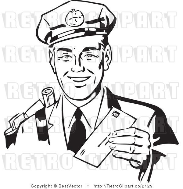 Free black and white retro vector clip art of a friendly mailman