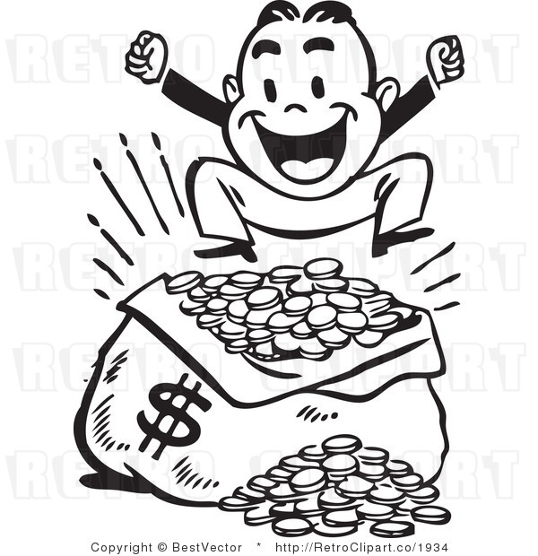 Royalty Free Black and White Retro Vector Clip Art of a Happy Man Jumping up and down over a Large Sack of Coins with a Money Symbol