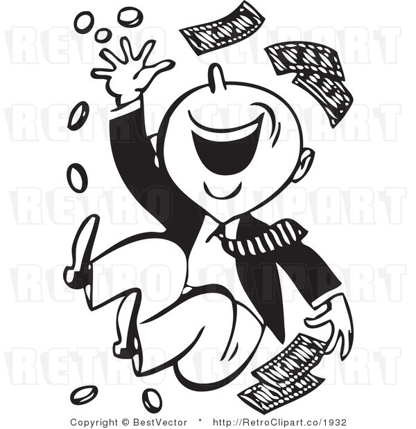 Royalty Free Black and White Retro Vector Clip Art of a Happy Man Throwing Money and Coins Around While Jumping in the Air