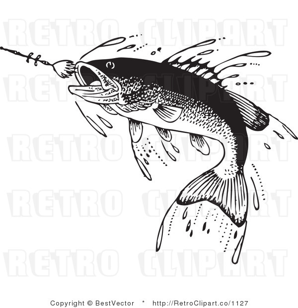 Royalty Free Black and White Retro Vector Clip Art of a Leaping Hooked Fish