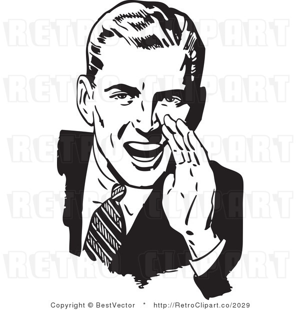 Royalty Free Black and White Retro Vector Clip Art of a Man Hollering