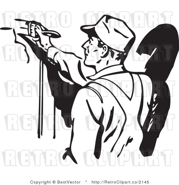 Clip art of a man painting retro clip art bestvector