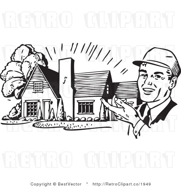 Royalty Free Black and White Retro Vector Clip Art of a Realtor Presenting a House