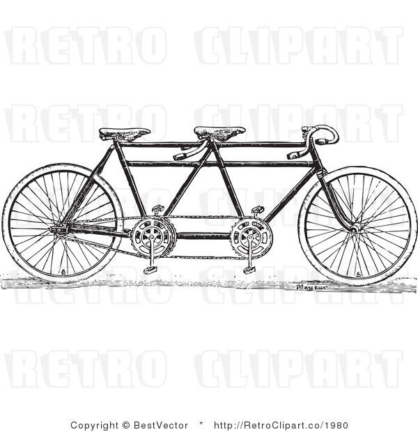 Royalty Free Black and White Retro Vector Clip Art of a Tandem Bike