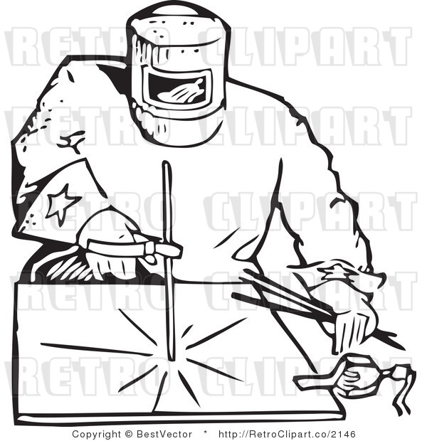 Vector clip art of a welder retro clip art bestvector