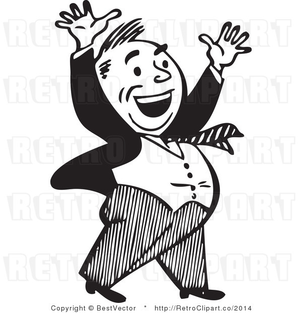 Royalty Free Black and White Retro Vector Clip Art of an Excited Businessman Celebrating with a Big Smile