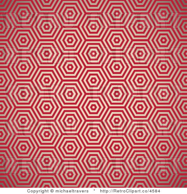 Royalty-free (rf) retro clipart illustration of red hexagon background.