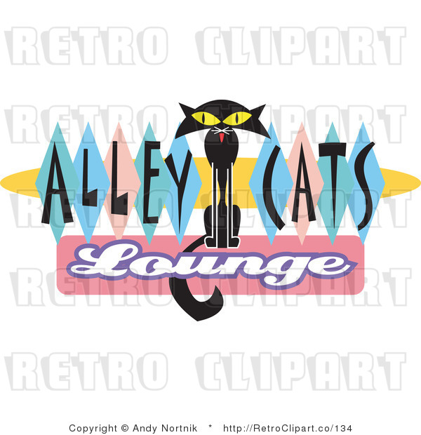 Royalty Free Retro Vector Clip Art of a Alley Cats Lounge Sign