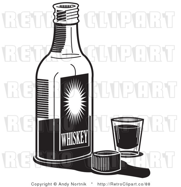 Royalty Free Retro Vector Clip Art of a Black and White Bottle of Whiskey