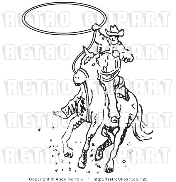 Royalty Free Retro Vector Clip Art of a Black and White Rodeo Cowboy