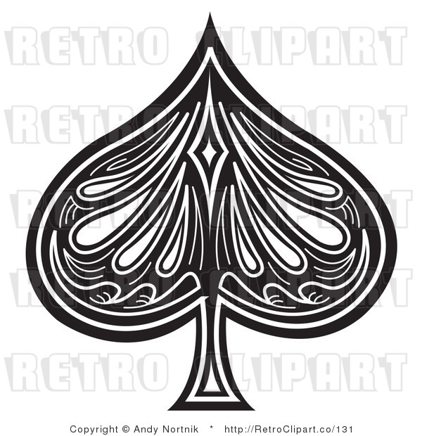 Royalty Free Retro Vector Clip Art of a Black and White Spade