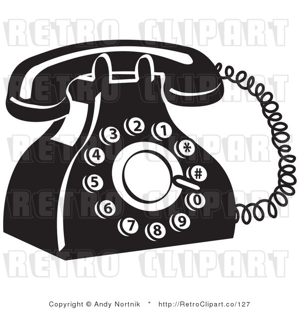Royalty Free Retro Vector Clip Art of a Black and White Telephone