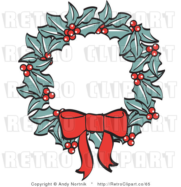 Royalty Free Retro Vector Clip Art of a Christmas Wreath