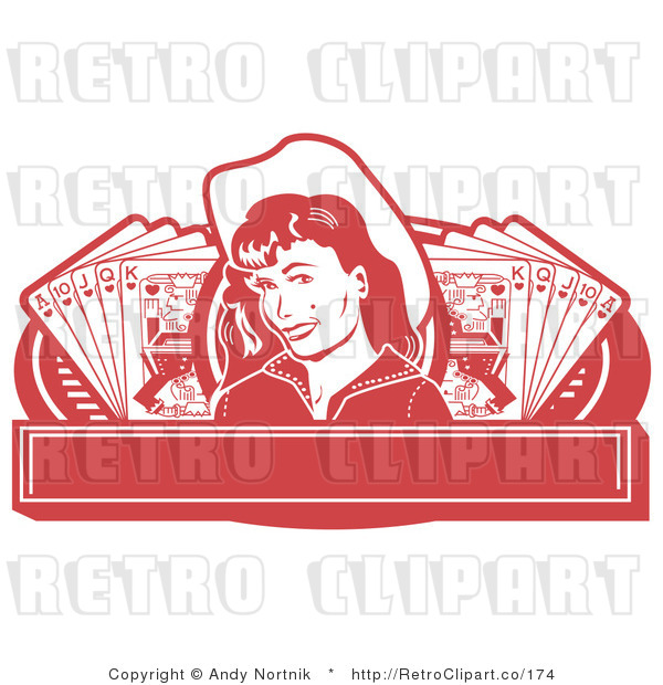 : Royalty Free Retro Vector Clip Art of a Cowgirl Casino Banner