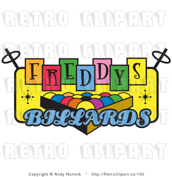 Royalty Free Retro Vector Clip Art of a Freddys Billiards Sign