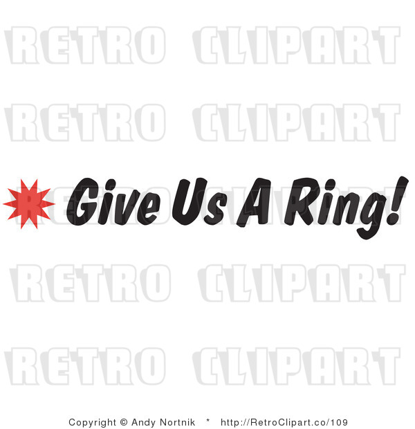 Royalty Free Retro Vector Clip Art of a Give Us a Ring Sign